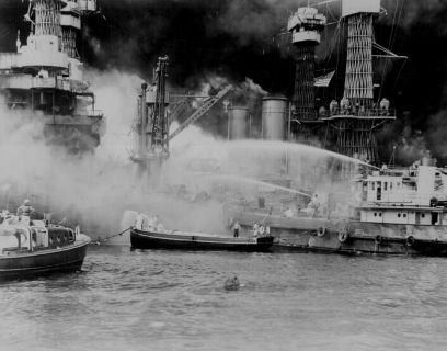 USS West Virginia on fire at Pearl Harbor